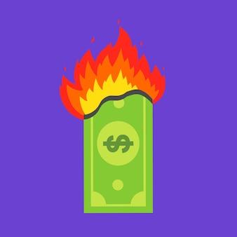 Grüne dollarnote brennt. finanzkrise. flache vektor-illustration.