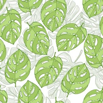 Grüne dschungelpalmblätter auf dem weißen hintergrund. modernes nahtloses tropisches muster.