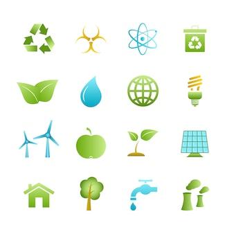 Grüne eco ikonen eingestellt
