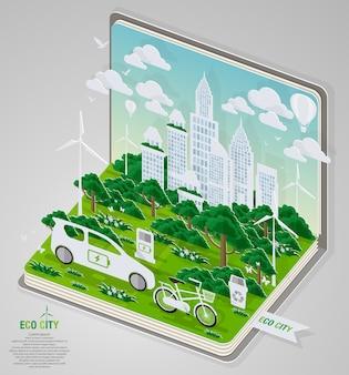 Grüne eco stadt und leben mit buchkonzept.