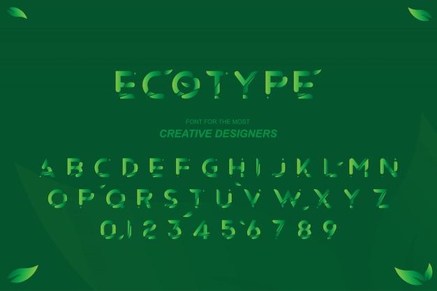 Grüne eco ursprüngliche mutige gussalphabetbuchstaben und -zahlen