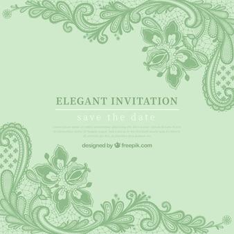 Grüne ele einladung mit hand gezeichneten blumen