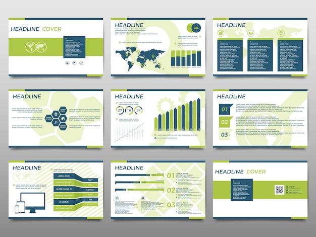 Grüne elemente für infografiken auf weißem hintergrund. präsentationsvorlagen.