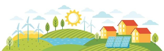 Grüne energie ein umweltfreundliches modernes haus. öko-stadt mit alternativer energie. moderne umweltfreundliche stadtlandschaft mit ökologischer infrastruktur, sonnenkollektoren, windmühlen, windkraftanlagen.