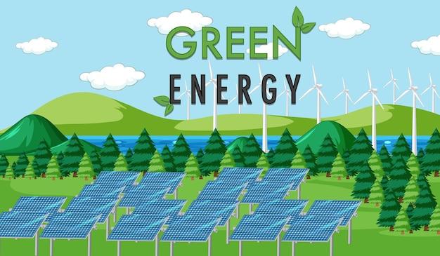 Grüne energie erzeugt durch solarpanel