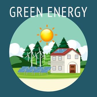 Grüne energie erzeugt durch windkraftanlage und sonnenkollektor