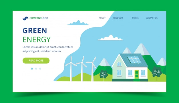 Grüne energie-landingpage