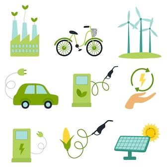 Grüne energie-set windmühlen und sonnenkollektoren öko-kraftstoff elektroauto flache vektor-illustration