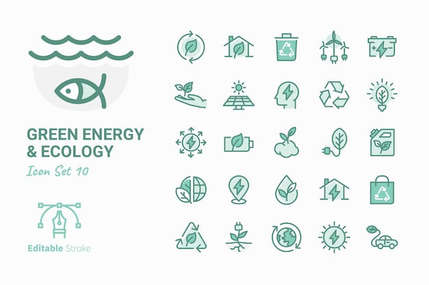 Grüne energie u. ökologievektor-ikonensammlung