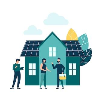 Grüne energie umweltfreundliche hausenergie aus sonnenkollektoren und windmühlen Premium Vektoren