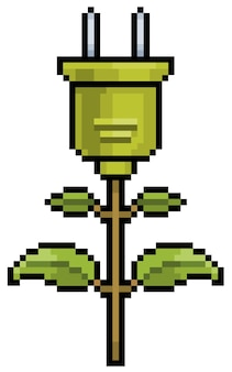 Grüne energie und ökologische ikone des pixelkunstpflanzenauslasses für 8-bit-spiel auf weißem hintergrund