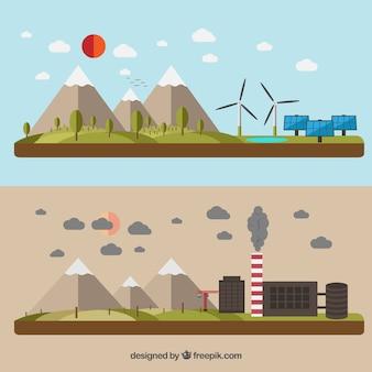 Grüne energie und verschmutzung