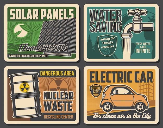 Grüne energie, wassersparen, plakate für elektroautos