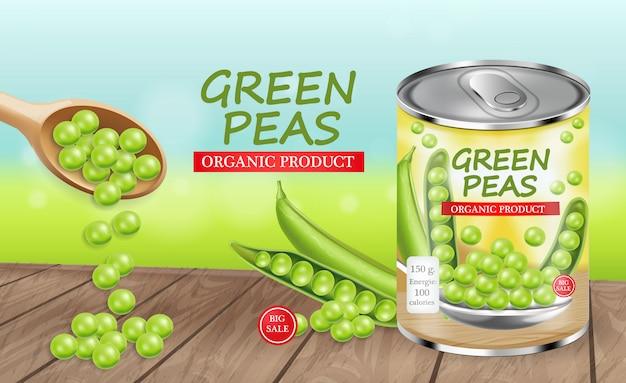 Grüne erbsen können paket entwerfen