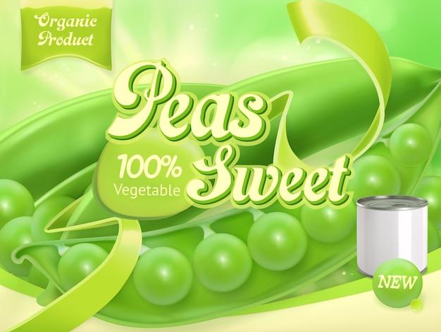 Grüne erbsen. realistisches verpackungsdesign