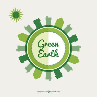 Grüne erde flach illustration