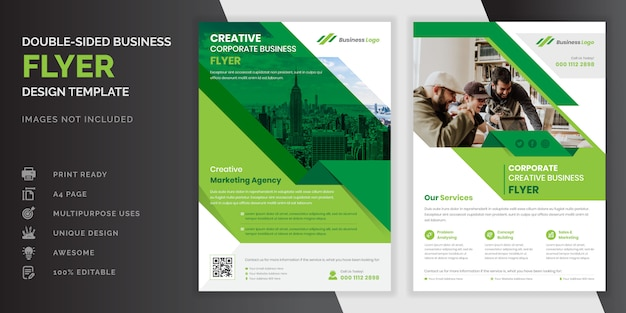 Grüne farbe abstrakte kreative moderne professionelle doppelseitige business flyer