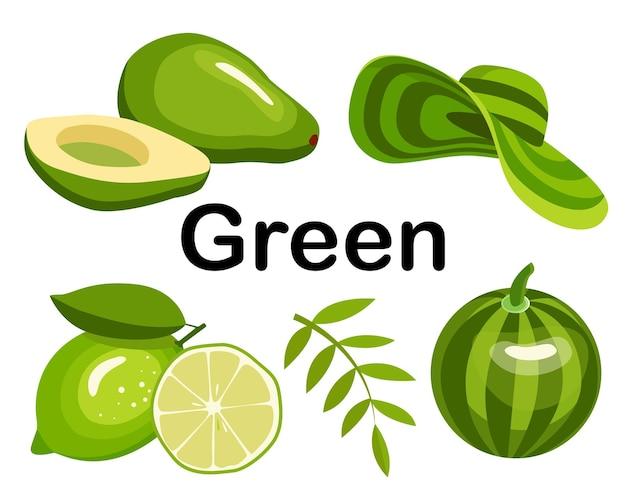 Grüne farbe. satz von gegenständen. die sammlung umfasst wassermelone, avocado, limette, strandhut, apfel.