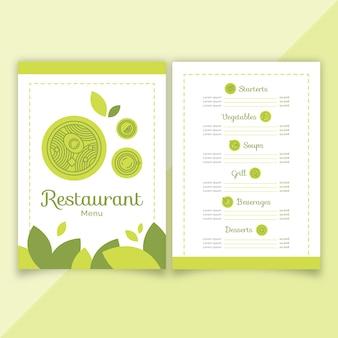 Grüne flache restaurantmenüvorlage