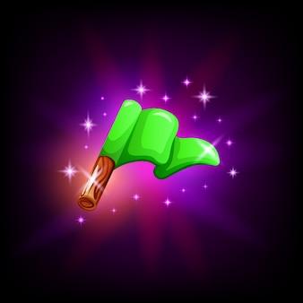 Grüne flagge auf pol-gui-element für spiel- oder mobilanwendungsdesign auf dunklem hintergrund. start- oder zielsymbol im cartoon-stil