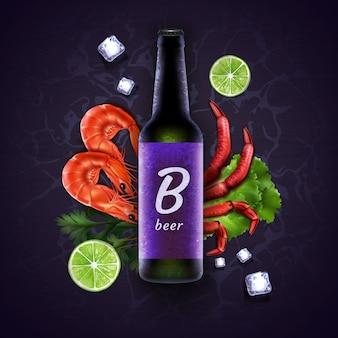 Grüne flasche bier und lila etikett mit platz für text auf violettem hintergrund mit meeresfrüchten