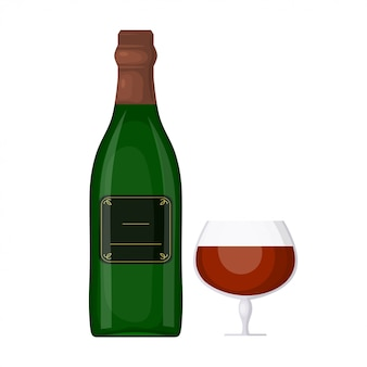 Grüne flasche wein mit einem glas auf einem weißen hintergrund. cartoon-stil. das thema des festlichen tisches. element für ihr design. lager vektor-illustration