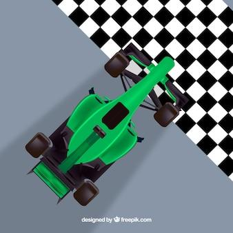 Grüne formel 1 rennwagen kreuzung ziellinie