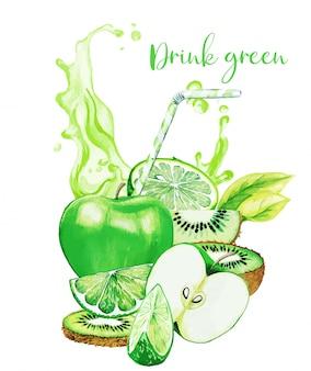 Grüne fruchtzusammensetzung mit grünem saftspritzer