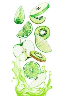 Grüne früchte, die in den grünen saft fallen, spritzen