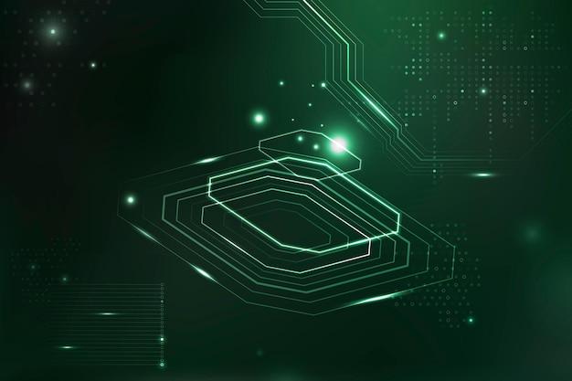 Grüne futuristische mikrochip-hintergrundinformationen digitale transformation Kostenlosen Vektoren