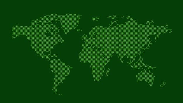 Grüne gepunktete weltkarte
