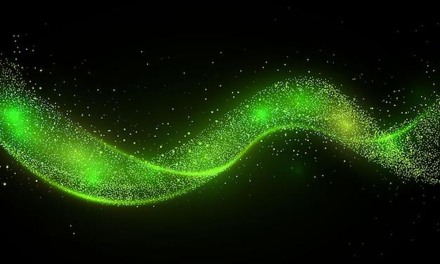 Grüne glitzerwelle der kometenspur sternstaubspur funkelnde partikel auf transparentem hintergrund