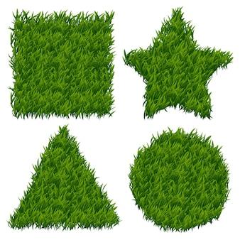 Grüne grasfahnen gesetzt