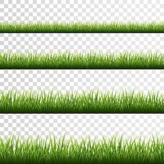 Grüne grasgrenze gesetzt auf weißem hintergrund.