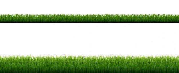 Grüne grasgrenze mit lokalisiertem weißem hintergrund