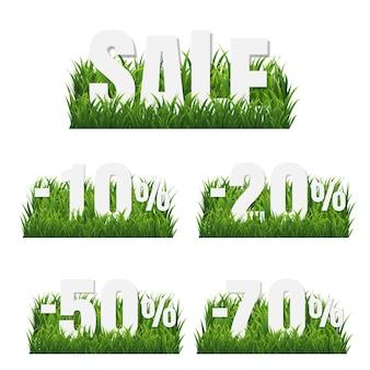 Grüne grasgrenze mit verkaufsplakatsatz