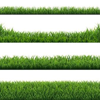 Grüne grasränder gesetzt