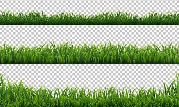 Grüne grasränder setzen transparent Premium Vektoren