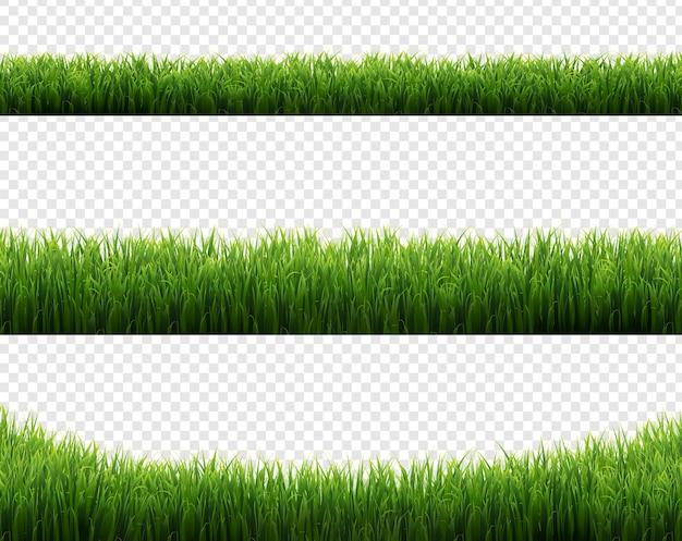 Grüne grasrahmen setzen transparenten hintergrund, illustration
