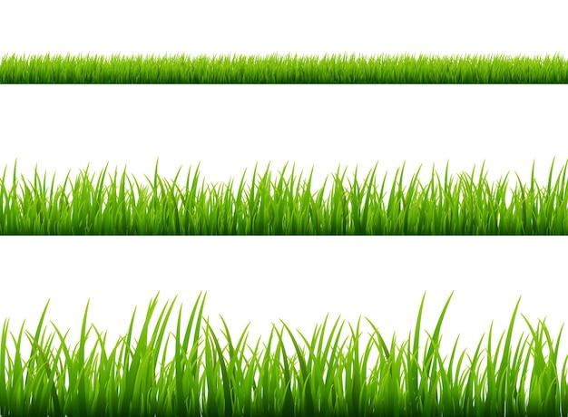 Grüne graswiesengrenze lokalisiert auf weiß