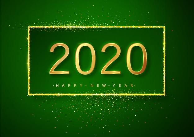 Grüne guten rutsch ins neue jahr-funkelngoldfeuerwerke. goldener funkelnder text und 2020 zahlen mit schein glänzen für feiertagsgrußkarte.