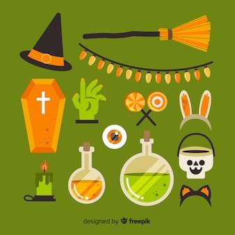 Grüne halloween-elementsammlung auf flachem design