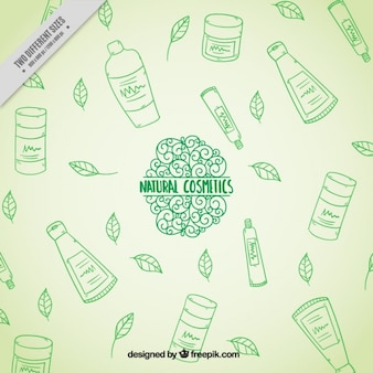 Grüne hand naturkosmetik hintergrund gezeichnet