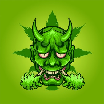 Grüne hanyajuana-maske