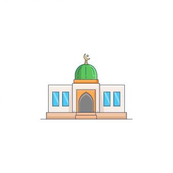 Grüne hauben-moscheen-ikonen-vektor-illustration
