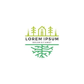 Grüne hausgarten baumwurzel logo