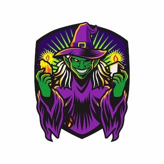 Grüne hexe mit kerzen