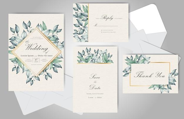 Grüne hochzeits-einladungs-karten-set-vorlage mit elegantem handgezeichnetem blumenaquarell und laub