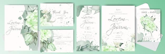 Grüne hochzeits-einladungskarten-satzschablone mit cremigem aquarell und blume