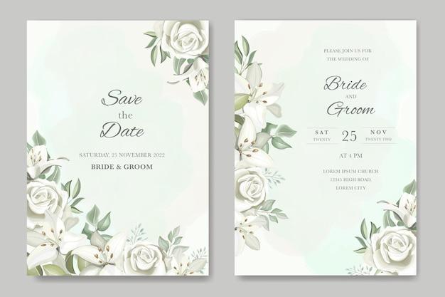 Grüne hochzeitseinladungskarten-set-vorlage mit handgezeichneten lilien